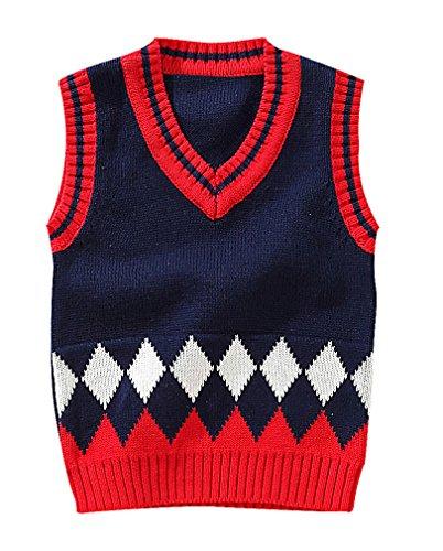 Fair-isle-pullover Mit V-ausschnitt (Zamot, Little Jungen bunt Rhombus Muster Getäfelten Gerippte Kanten Polo Weste Gr. 92, 1)