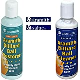 Aramith Billiard Ball Restore abbinato a Aramith billiard ball cleaner, coppia detergenti liquidi per bilie fenoliche per biliardo. Flaconi da 250ml.