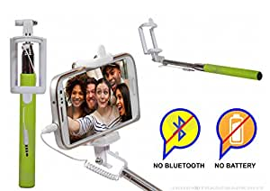 Selfie Stick Monopod With Wired Aux Cable Connectivity Compatible For Reliance Jio Lyf Flame 6 -Green
