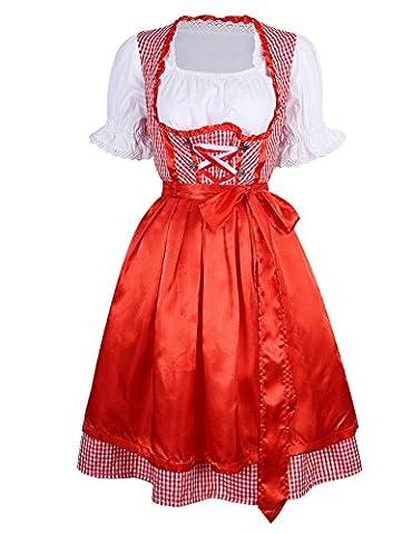 YesFashion Robe Set de Dirndl à Carreaux Manches courtes Bavarois Oktoberfest Tablier serveuse Wench Festival Costume pour Femme Rouge M