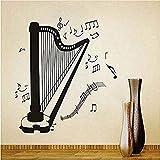 Stickers Muraux Peinture Murale Auto-Adhésive Bricolage Décoration De La Harpe Silhouette Notes Diverses Salon Décoration Salle De Musique Décoration Harpe Sticker Mural Amovible