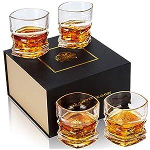 KANARS 4-teiliges Whisky Gläser Set, Bleifrei Kristall Whiskygläser, Spülmaschinentauglicher Whiskybecher, Hochwertige Qualität, 300ml, Geschenkbox
