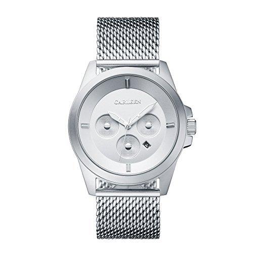 Montre pour Hommes en Acier Inoxydable Mesh Montre A Quartz Analogique étanche 30M Montre-Bracelet avec Calendrier (Silver)
