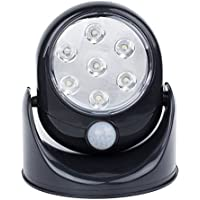 Invero® Motion Activated 360 Rotating Auto PIR Sensor Super Bright 7 LED Security Night Light Indoor/Outdoor - Cordless Battery Operated - Black