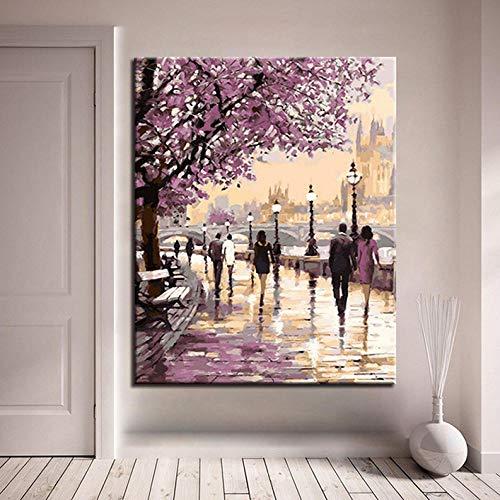Waofe D Diy Digitales Ölgemälde By Number Coloring Kirschblüten Avenue Fußgänger Leinwand Bild Dekor Wohnzimmer Wandkunst No Frame