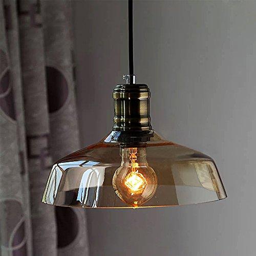 NIUYAO Lampada a Sospensione Paralume Forma Ciotola Vetro Vintage Retro Industriale Lampadari Illuminazione per Interni-Ambra