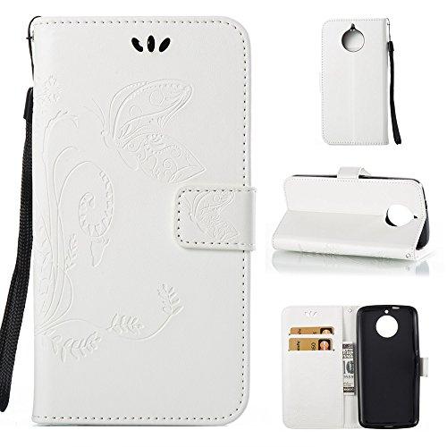 EKINHUI Case Cover Solid Color Faux Leder Bookstyle Brieftasche Stand Case mit geprägten Blumen & Lanyard & Card Slots für MOTO G6 ( Color : Gray ) White