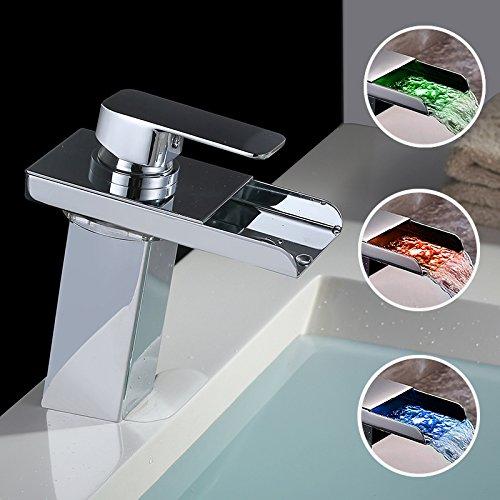 Homelody - Wasserfall-Waschtischarmatur, Einhebel, LED-Beleuchtung, Temperatur-Farbwechsel, Chrom
