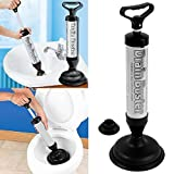 TekBox Drain Doctor / Drain Buster / Sink, Bath, Toilet Plunger Pipe Unblocker / Clog Remover Sucker - Includes Large and Small Suction Cup