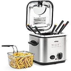 Wëasy TB600 Friteuse et fondue 2 en 1 électrique 1,2L Inox Multifonction Compact, 6 Fourchettes, Filtre Anti-odeurs, Cuve amovible, Température réglable