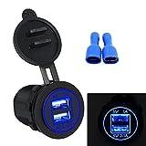 Bexcellent Dual USB DC12V-24V 3.1 A Toma USB Cargador de la Energía del Adaptador de Enchufe de Encendedor del Coche Zócalo para Coche Motocicleta(Azul)