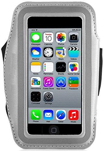 Preisvergleich Produktbild Act Wasserfestes Sport-Armband -LEBENSLANGE GEWÄHRLEISTUNG - Mit Schlüsselhalter, Kabelfach, Kartenhalter für iPhone 7/6/6S,Galaxy S6/S5/S4,iPhone 5/5C/5S bis 5.1 Inch (Silber 5 / 5c / 5s)