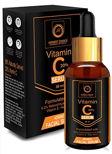Honest choice Vitamin C Serum For Face 30ml With retinol and Hyaluronic acid Serum | Best Vitamin C Serum For Skin Glowing And Whitening | Anti Ageing Serum | Correct Age Spot,Skin Sun Damage | Face Serum.