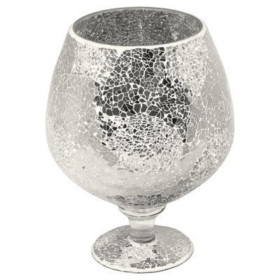 Mirrored Mosaic Glass Hurricane Vase, Silver, Large
