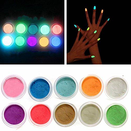 LuckyFine 10 Nail Art Néon Couleurs Poudres Acrylique Fluorescent Luminescent Paillette