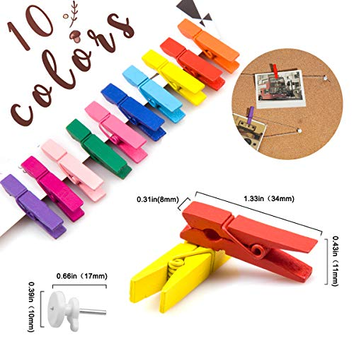 AMWOKE Wooden Photo Clips, 100PCS Colored Mini Wooden Pegs, Clothespins Photo Paper Peg Pin with 164ft (50M) Jute Twine String for Hanging Photos DIY Craft Decoration