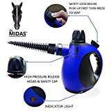 Midas Multi-Purpose Big Capacity Handheld Pressurized Steam Cleaner with 9-Piece Accessories for Stain Removal, Carpets, Curtains, Bed Bug Control, Car Seats