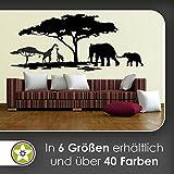 KIWISTAR Afrika Motiv Giraffen u. Elefanten Wandtattoo in 6 Größen - Wandaufkleber Wall Sticker