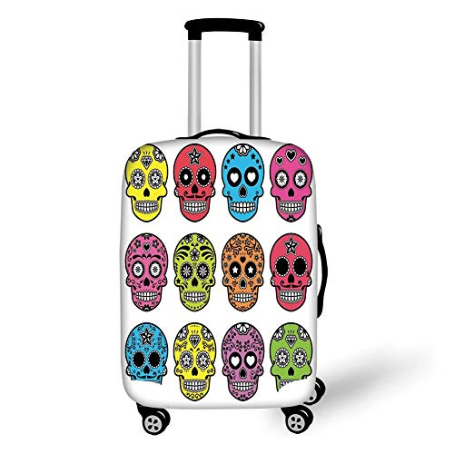 Travel Luggage Cover Suitcase Protector,Skull,Ornate Colorful Traditional Mexian Halloween Skull Icons Dead Humor Folk Art Print,Multi,for Travel,M