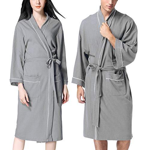 Unisex Herren Damen Waffel-Bademantel Baumwolle weich schnell trocknend leicht Bademantel Kimono Brautjungfer Haustier Nachtwäsche Pyjama + Gürteltaschen für Spa Hotel xl grau - Herren Waffel