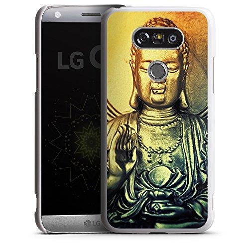 """artboxONE Handyhülle LG G5, weiß Hard-Case Handyhülle """"Golden Buddah Case"""" - Tiere - Smartphone Case mit Kunstdruck hochwertiges Handycover von AD Design"""