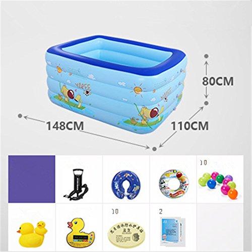 YUGNG Verdicken Umweltfreundliche PVC-Familie Kinder Schwimmen Gefaltet aufblasbare Quadrat Baby Badewanne Pool Spielzeug Pool 148 * 110 * 80 cm Hand Pumpe für 0-7 Jahre Alt