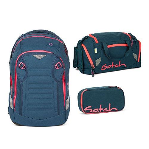 ntom 3er Set Schulrucksack, Sporttasche & Schlamperbox (Klar Rucksäcke Pink)