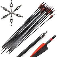 Milaem 12pcs 30 Pulgadas Flechas de Carbono Spine 400 Flechas de Caza con 100 Granos de reemplazo Broadhead para Caza de Tiro con Arco Compuesto y recurvo