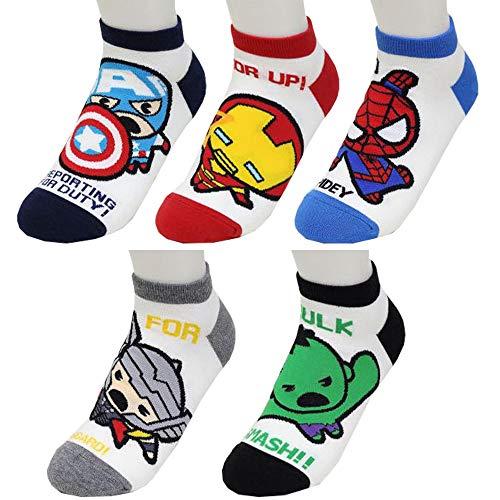 Marvel Charakter Knöchel Socken mit Beutel Packung mit 5 Paaren - Captain America, Iron Man, Spider-Man, Thor, Hulk Sneakersocken