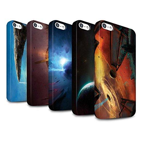 Offiziell Chris Cold Hülle / Matte Snap-On Case für Apple iPhone 5/5S / Phönix/Raumzeit Muster / Galaktische Welt Kollektion Pack 6pcs