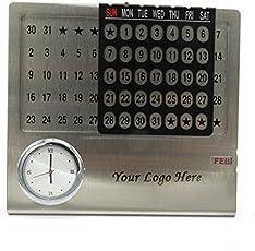 Presto Metal Personalised Big Perpetual Calender with Clock (Multicolour, 15x4x14cm)