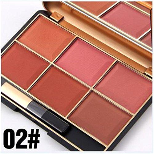 Pure Vie® Professionelle 6 Farben Gesicht Puder Rouge Blush Palette Make Up Kosmetik Set #2- Ideal für Sowohl den Professionellen als auch Persönlichen Gebrauch