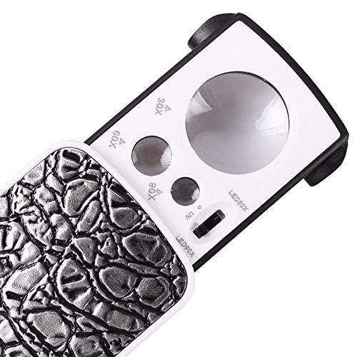 BEITAI Taschenvergrößerungslinse 30 X 60X Doppelvergrößerungslinse LED-beleuchtetes Taschenmikroskop zur Lesesteuerung Hobby Exploration and Verification