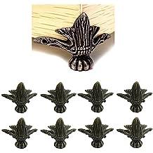 Paor - Embellecedores para esquinas de muebles, 8 unidades, aleación de zinc de color bronce envejecido, para cajas de madera, estantes y patas de la mesa, 40 x 30 mm, con tornillos