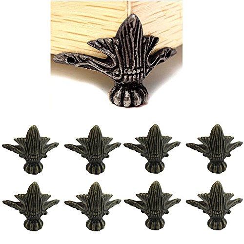 Paor 8 Pack Antique Zink Alloy Bronze Corner Dekorative Möbel Ecke für Holz Box Shelves Tisch Beine 40 * 30mm mit Schrauben Schrank-füße Aus Holz