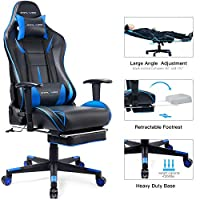 GTPLAYER Gaming Chair with Footrest Computer Racing Heavy Duty E-Sports Chair for pro Gamer Seat Height Adjustable Multi-Function Recliner with Headrest and Lumbar Support Pillow(Blue)