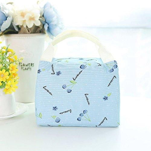 Qearly Schoen Oxford Fabrics Tote Lunchtasche Isolierte Wiederverwendbar Cooler Bag Kinder Snacktasche Erwachsene Picknicktasche-Blau