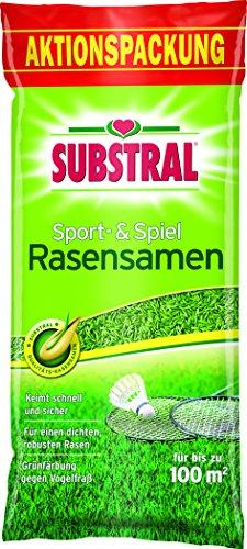Substral Rasensamen Sport und Spiel, Schnell keimende strapazierfähige Rasensaat-Mischung mit Grünfärbung gegen Vogelfraß, 2 kg für 100 m²