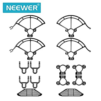 Neewer 3-in-1 Protection Accessories Kit for DJI Spark Drone, Inludes: Landing Gear Extenders with Buckles, Propeller Guards, Finger Guards (Black)