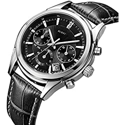 BUREI Mens Black Casual Sports Chronograph Watches with Leather Band and Single Date Calendar