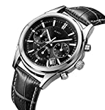 BUREI-Mens-Chronograph-Wrist-Watches-Stopwatch-with-Black-Dial-Genuine-Leather
