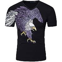 GZZ Camiseta con Estampado de águila de Verano para Hombre/Camiseta de Manga Corta de algodón 95% / Creativa Blanca,Negro,L