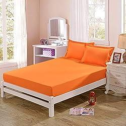 hllhpc Lit de meulage Simple Couleur Produit Unique ponçage lit Couvre-lit Couvre-lit Glissant Orange Pur Jaune 120x200cm
