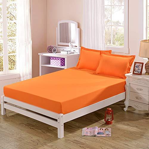hllhpc Schleifbett einfache Farbe Einzelstück Schleifen Bettlakenbezug Bettbezug rutschig rein orange gelb 180x200cm [mit Kissenbezug]