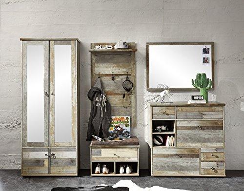 Stella Trading Bonanza Schrank, Garderobenschrank, mit Spiegel, Holz, braun, (B/H/T) 108 x 188 x 40 cm