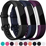 Maledan For Fitbit Alta HR And Alta Bands, Maledan Replacement Accessories Wristbands For Fitbit Alta And Alta HR, Black Blue Plum Small