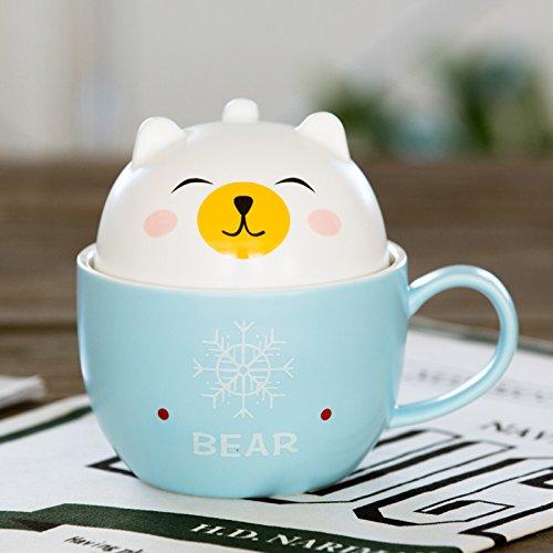 Damlonby Le petit déjeuner tasse couple mignon chien cartoon eau tasse tasse en céramique avec un couvercle d'office, l'ours blanc