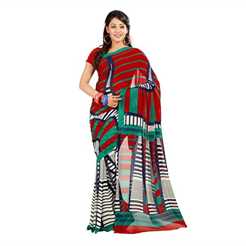 Shaktideal Dailywear light weight printed sarees blue and red