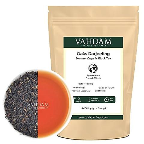 Fresh Organic Second Flush Darjeeling Black Tea Sftgfop1, Direct from Source in India, Loose Leaf Tea - Rich, Flavoury & Bodied, Single Estate Darjeeling from the Oaks Plantation, 100gm - Foglia Maker
