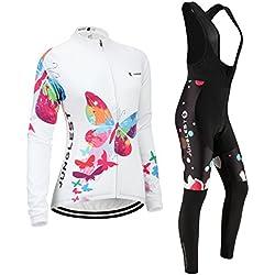 (Cojín 3D)(traje(strap negro) tamaño:L) transpirable sudo rompevientos rendimiento ciclismo los chaleco Jerseys ropa manga de para mujer larga Moda maillot